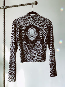 Animal Print Cat Skull Long Sleeve Crop Tee