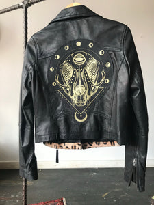 Leopard Cat Skull Leather Jacket