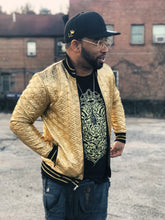 Load image into Gallery viewer, All Seeing Eye Metallic Gold Bomber Jacket Unisex - Medium