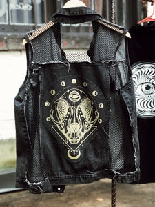 Cat Skull Fishnet Denim Vest - Size Xlarge
