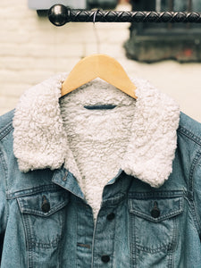 Desert Denim Jacket with Faux Fur Lining - Size Medium