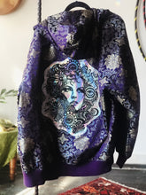 Load image into Gallery viewer, Holographic Flower Child Metallic Floral Purple Zip Up