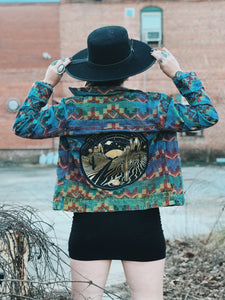 Denim Desert Rainbow Embroidered Jacket-  Small