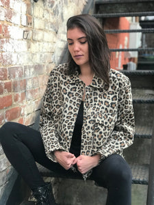 Leopard Print Denim Cat Skull Jacket