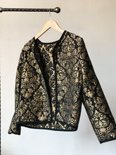 Load image into Gallery viewer, Gold Floral  Cat Skull Jacket - Large
