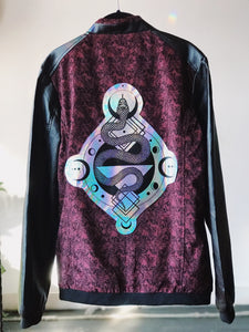 Holographic Paisley Corduroy Serpent Motorcycle Jacket - Men's XS / Women's M