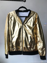 Load image into Gallery viewer, Gold Moth Metallic Bomber Jacket