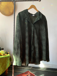 Green Leopard Print Sheer Button Up - Size Xlarge