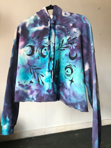 Moon Child Dyed Glow in the Dark Crop Hoodie - Size Large
