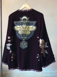 Velvet Purple Floral Embroidered Moth Kimono