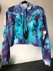 Moon Child Dyed Glow in the Dark Crop Hoodie - Size Small
