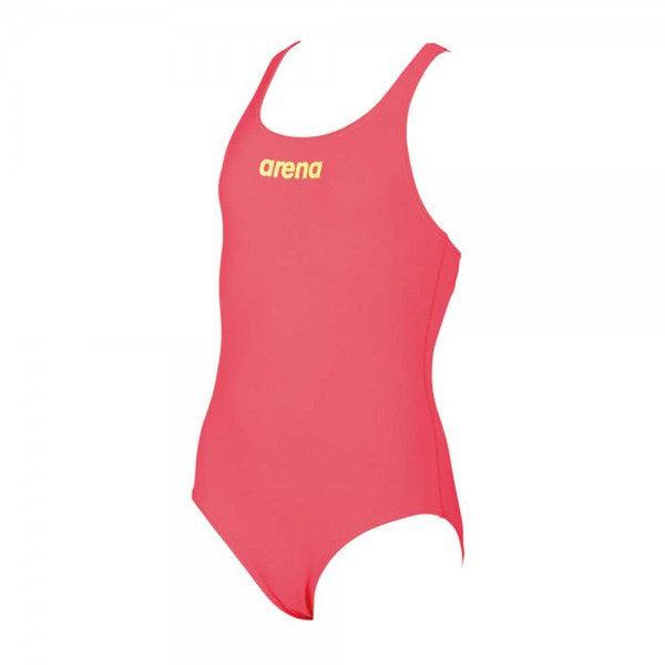 Arena Girls Solid Swim Pro JR Swimming Suit-Fluo Red