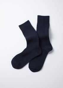COTTON WOOL RIBBED CREW SOCKS