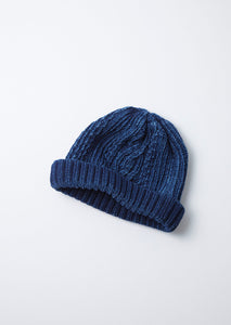 ARAN CABLE INDIGO SHORT WATCH CAP
