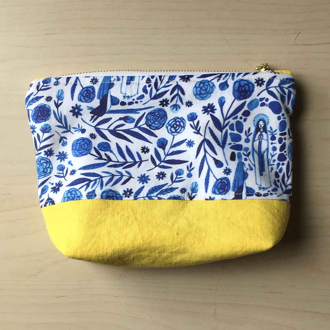 Our Lady of Lourdes Zipper Pouch - Yellow