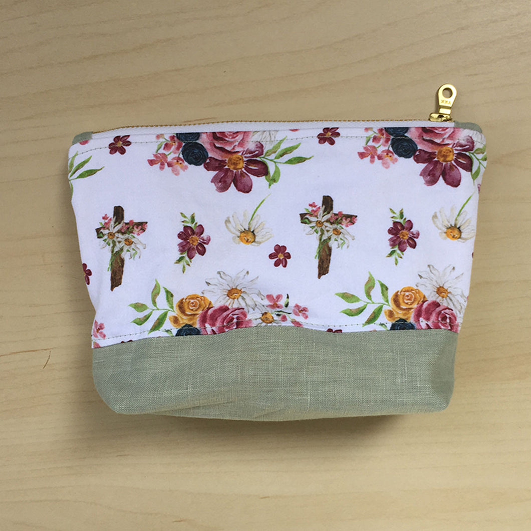 Saint Therese Zipper Pouch - Sage