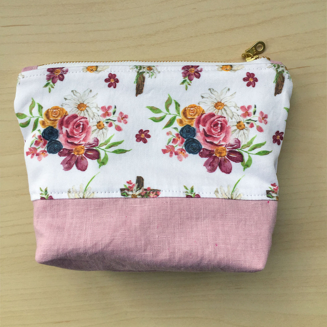 Saint Therese Zipper Pouch - Dusty Rose