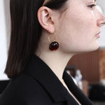 BAR Jewellery Sustainable Arp Earrings In Gold With Mahogany Resin, On The Ear