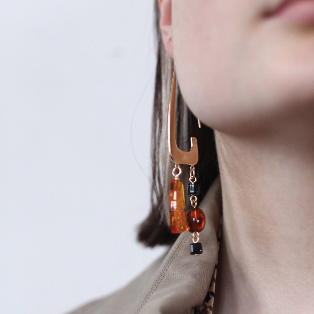 BAR Jewellery Sustainable Rise Earrings In Gold With Coloured Resin, Place On Ear