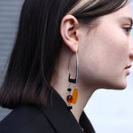 BAR Jewellery Sustainable Rise Earrings In Silver With Coloured Resin, Placed On Ear