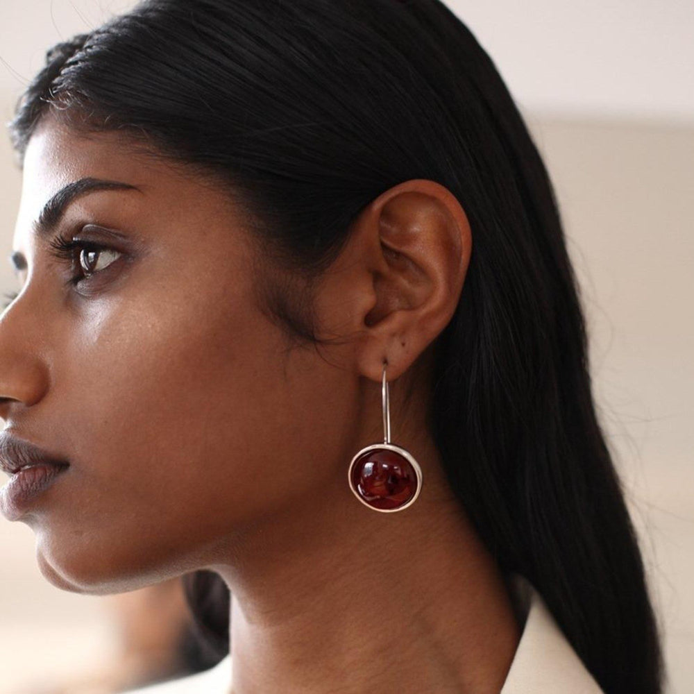 Load image into Gallery viewer, Arp Earrings | Silver + Mahogany