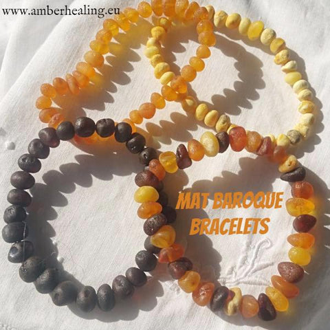 Raw Baltic Amber Baroque Bracelet Collection