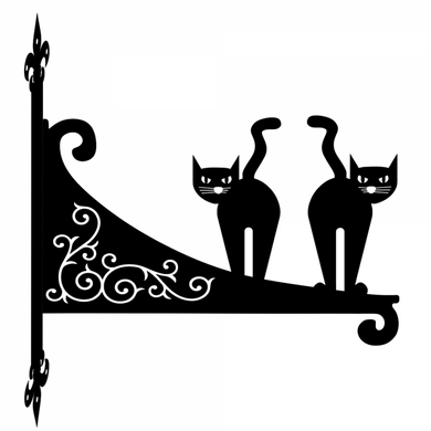 Cartoon Cats Ornamental Scroll Metal Hanging Bracket - Attractive Metal Designs