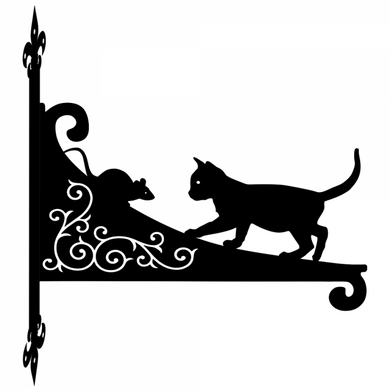 Cat And Mouse Ornamental Scroll Metal Hanging Bracket - Attractive Metal Designs