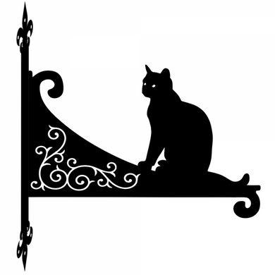 Cat Sitting Ornamental Scroll Metal Hanging Bracket - Attractive Metal Designs
