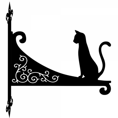 Cat Sitting Tall Ornamental Scroll Metal Hanging Bracket - Attractive Metal Designs