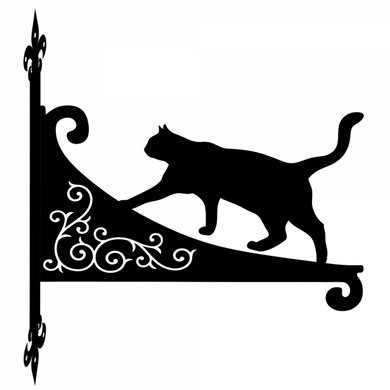Cat Stalking Ornamental Scroll Metal Hanging Bracket - Attractive Metal Designs