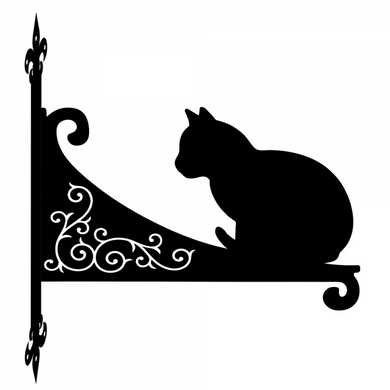 Cat Staring Ornamental Scroll Metal Hanging Bracket - Attractive Metal Designs