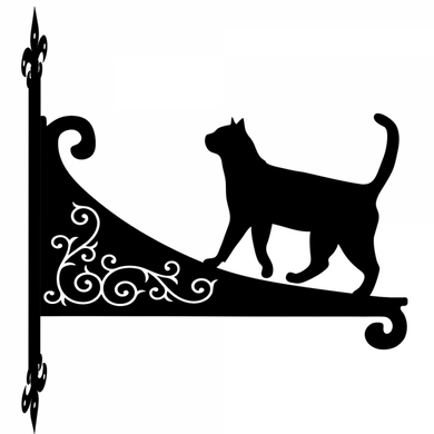 Cat Walking Ornamental Scroll Metal Hanging Bracket - Attractive Metal Designs
