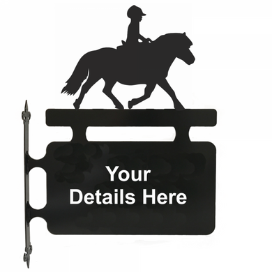 Shetland Pony and Rider Hanging Sign - Attractive Metal Designs