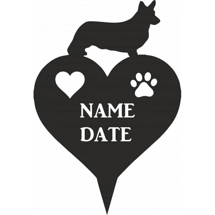 Corgi Heart Memorial Plaque - Attractive Metal Designs