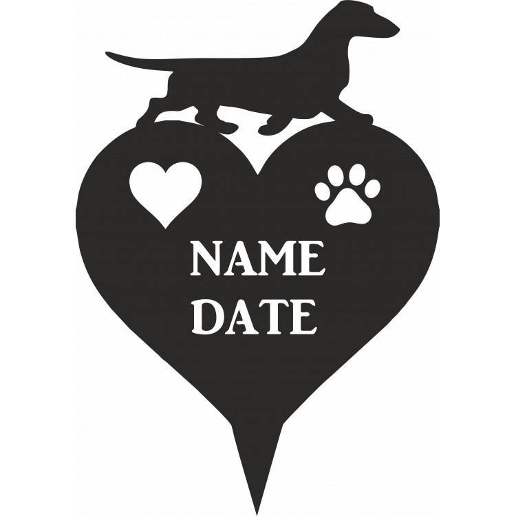 Dachshund (Smooth Haired) Heart Memorial Plaque - Attractive Metal Designs