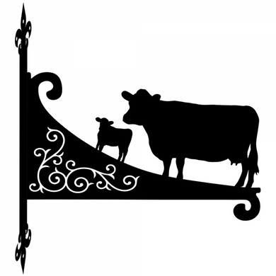 Dexter Cow And Calf Ornamental Scroll Metal Hanging Bracket - Attractive Metal Designs