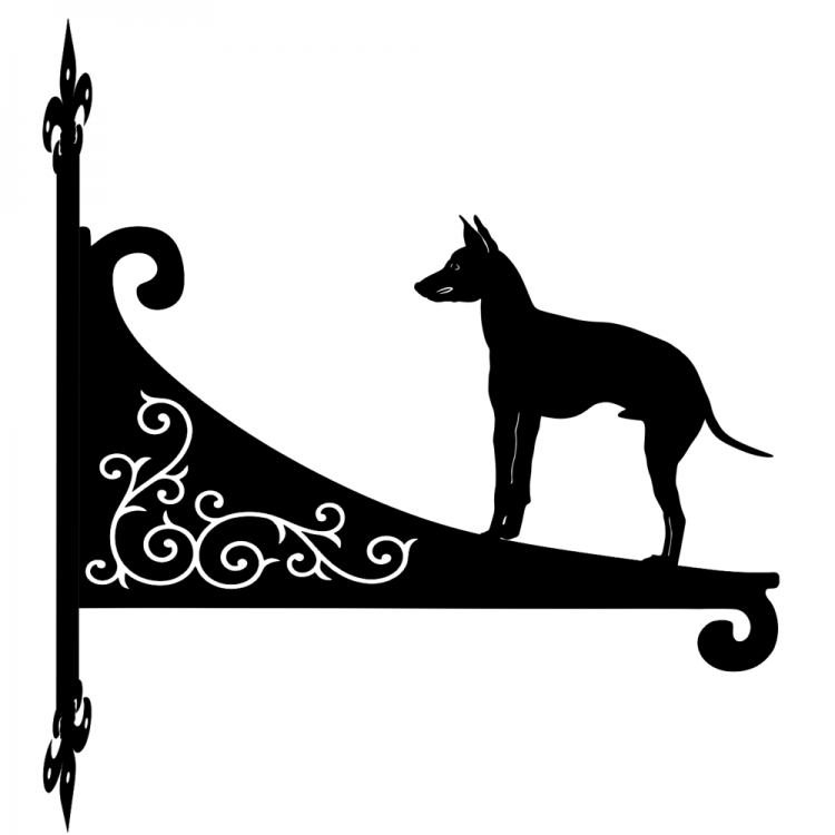 English Toy Terrier  Ornamental Scroll Metal Hanging Bracket
