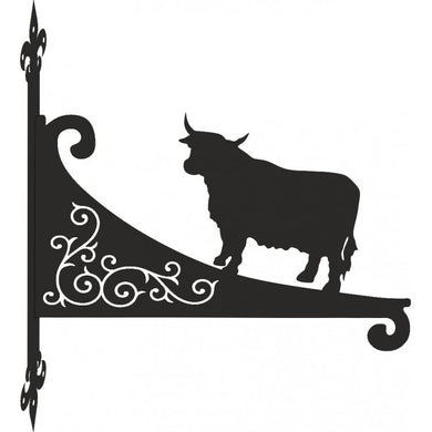 Highland Cow Ornamental Scroll Metal Hanging Bracket - Attractive Metal Designs