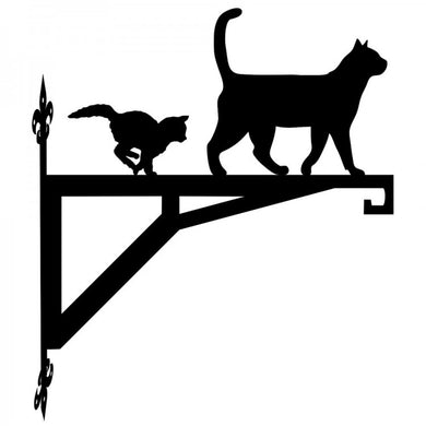 Cat and Kitten Standing Modern Metal Hanging Bracket - Attractive Metal Designs
