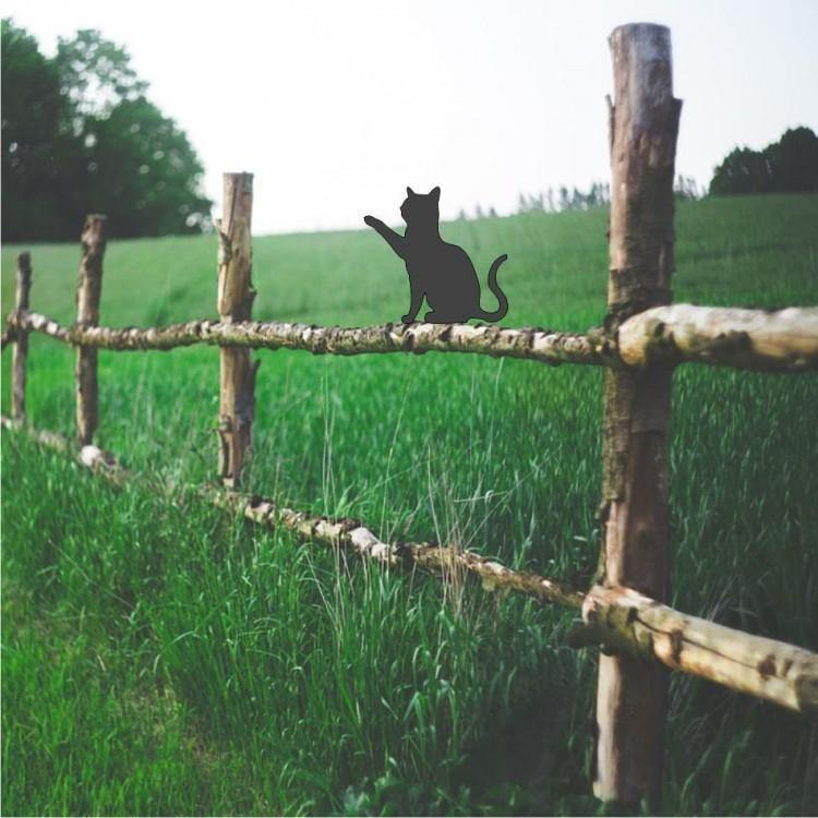 Cat Playing Sat Fence Garden Topper - Attractive Metal Designs