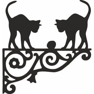 Two Cats Playing  Ornamental Metal Hanging Bracket - Attractive Metal Designs