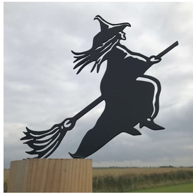 Witch On A Broomstick Topper Fence Garden Topper - Attractive Metal Designs