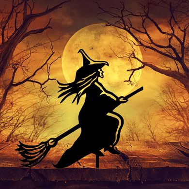 Witch On A Broomstick Garden Art - Attractive Metal Designs