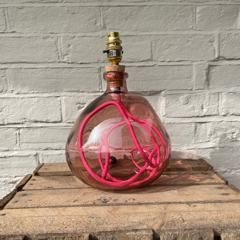 SMALL RECYCLED PINK GLASS LAMP