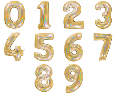 GOLD HOLOGRAPHIC FOIL NUMBER BALLOON WITH HELIUM