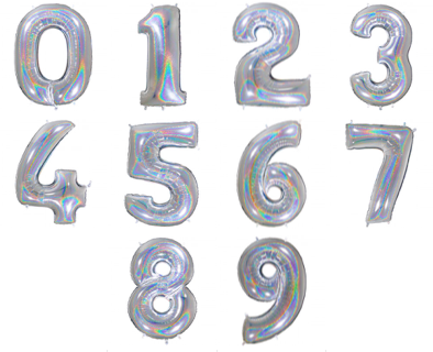 SILVER HOLOGRAPHIC FOIL NUMBER BALLOON WITH HELIUM