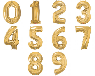 GOLD FOIL NUMBER BALLOON WITH HELIUM