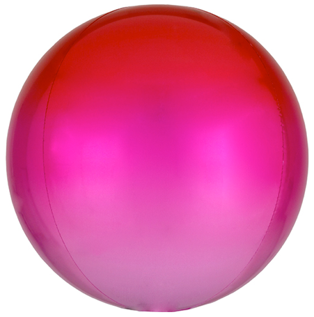 PINK INTO RED OMBRE ROUND BALLOON WITH HELIUM