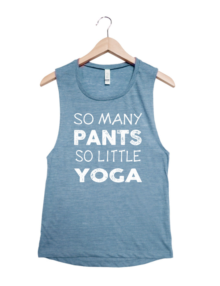 So Many Pants, So Little Yoga - Carolina Blue with White - Backorder